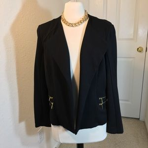 Chico's Black Jacket  Gold Zippers Size 12 or L